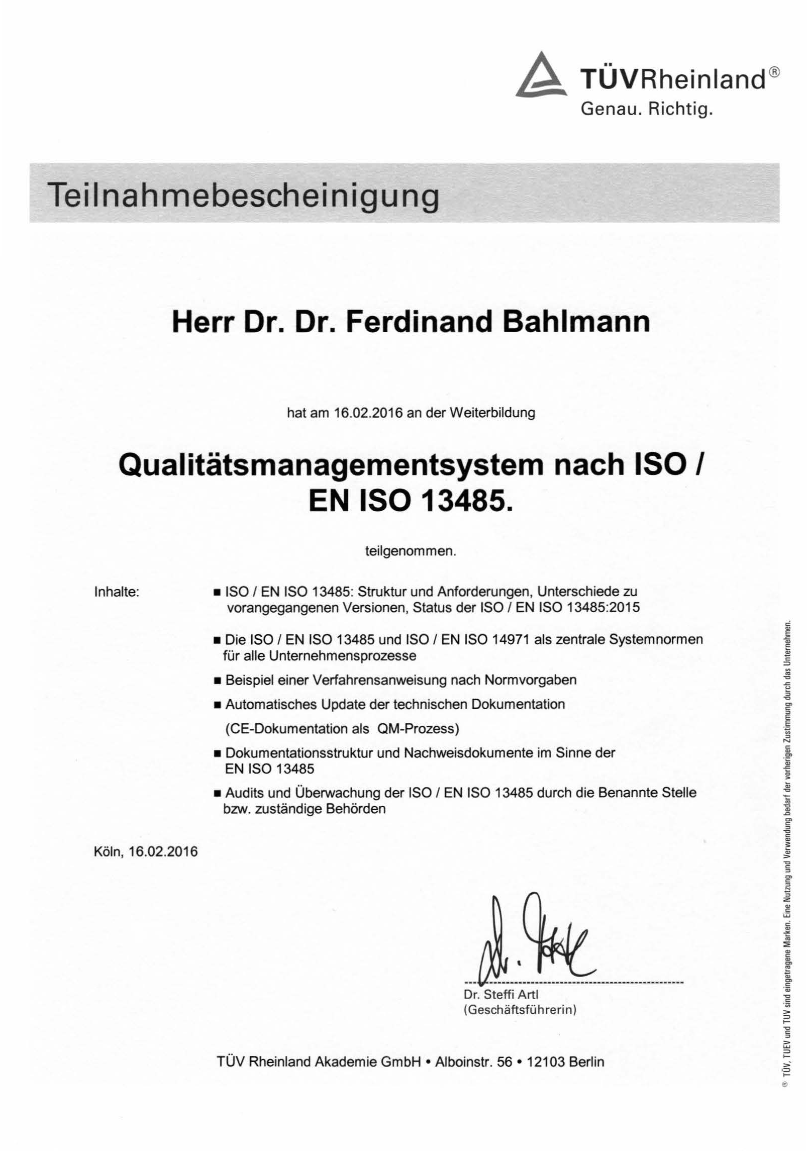 Mein Lebenslauf – Bahlmann Life Science Consulting