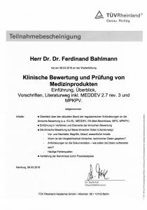 Teilnahmebescheinigungen TÜV_Klinische Bewertung und Prüfung von MP